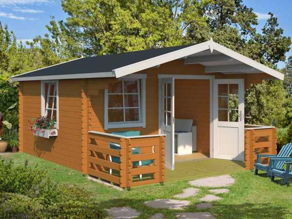Gartenhaus Blockbohlenhaus Luna 2 28 mm eiche