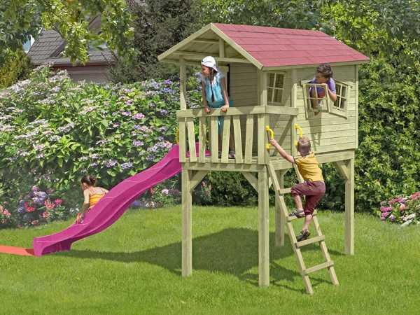 "Spielhaus Stelzenhaus ""CRAZY Benny"" inkl. 2,9 m Rutsche pink"