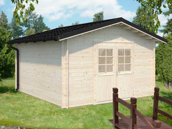 "Gartenhaus Blockbohlenhaus ""Tina"" 13,5 m² 34 mm transparent tauchimprägniert"