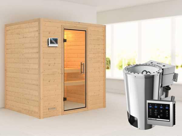 Sauna Massivholzsauna Ronja Klarglas Ganzglastür + Plug & Play Bio-Ofen mit externer Steuerung