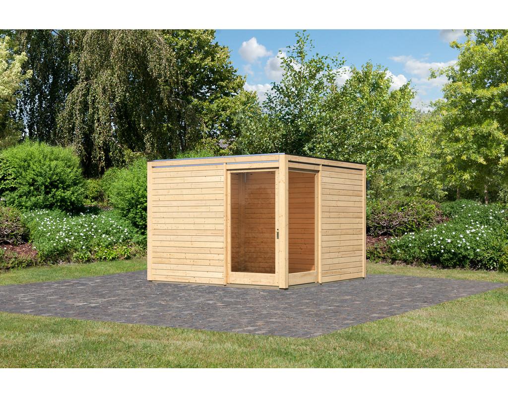 gartenhaus cubus eck 2 28 mm naturbelassen ka3507. Black Bedroom Furniture Sets. Home Design Ideas