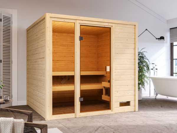Sauna Massivholzsauna Jutta, mit bronzierter Ganzglastür