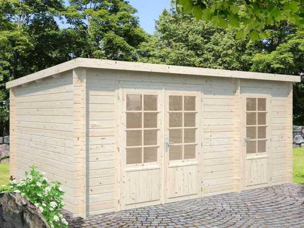 Gartenhaus Blockbohlenhaus Ella 13,1 m² 28 mm transparent tauchimprägniert