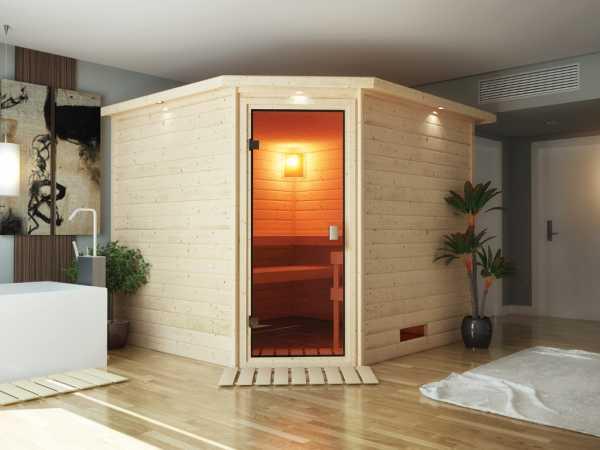 Sauna Massivholzsauna Leona mit Dachkranz, bronzierte Ganzglastür