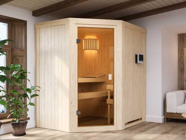 """Sauna """"Faurin"""" mit bronzierter Glastür + 9 kW Saunaofen ext. Strg."""