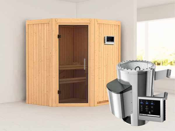 Sauna Systemsauna Tonja graphit Ganzglastür + Plug & Play Saunaofen mit externer Steuerung