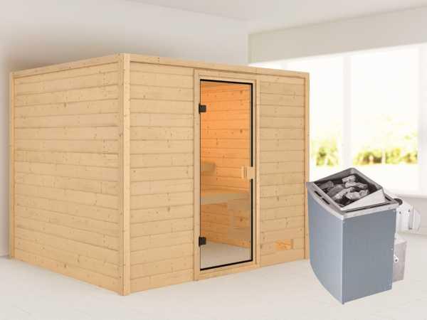 Sauna Katja mit bronzierter Glastür + 9 kW Saunaofen integr. Strg.