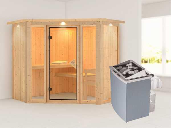 Sauna Systemsauna Flora 1 mit Dachkranz, inkl. 9 kW Saunaofen integr. Steuerung