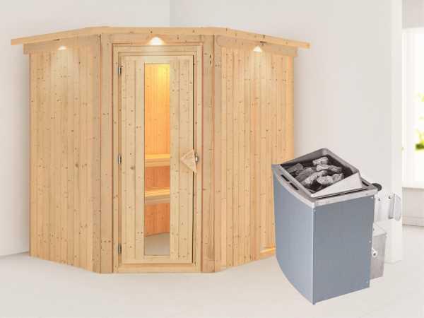 Systemsauna Siirin mit Dachkranz, Holztür mit Isolierglas, inkl. 9 kW Saunaofen integr. Steuerung
