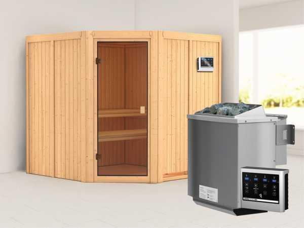"""Sauna """"Kotka"""" mit bronzierter Glastür + 9 kW Bio-Kombiofen mit ext. Strg."""