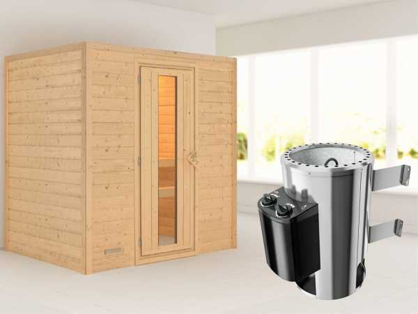 Sauna Massivholzsauna Ronja Energiespartür + Plug & Play Saunaofen mit Steuerung