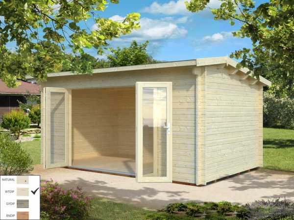 Gartenhaus Blockbohlenhaus Ines 13,7 m² 44 mm transparent tauchimprägniert