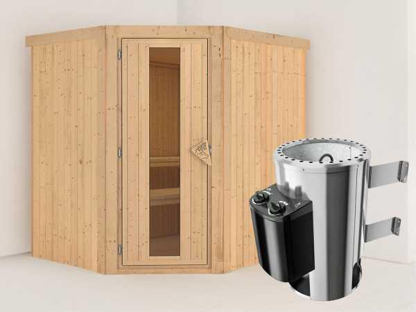 Sauna Systemsauna Lilja Energiespartür + Plug & Play Saunaofen mit Steuerung