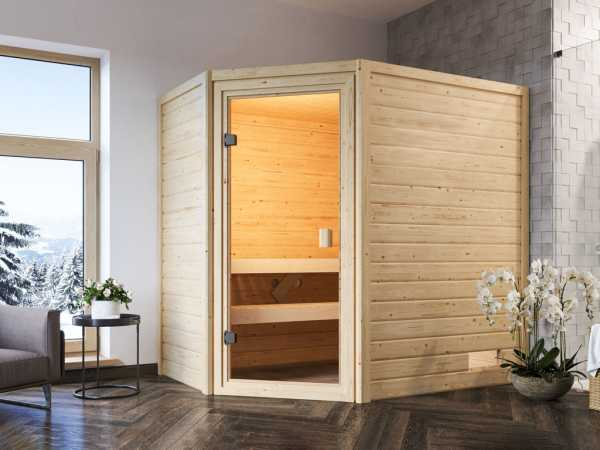 Sauna Jella mit bronzierter Glastür