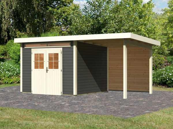 Gartenhaus SET Kerpen 3 28 mm terragrau, inkl. 2,6 m Anbaudach + Rückwand