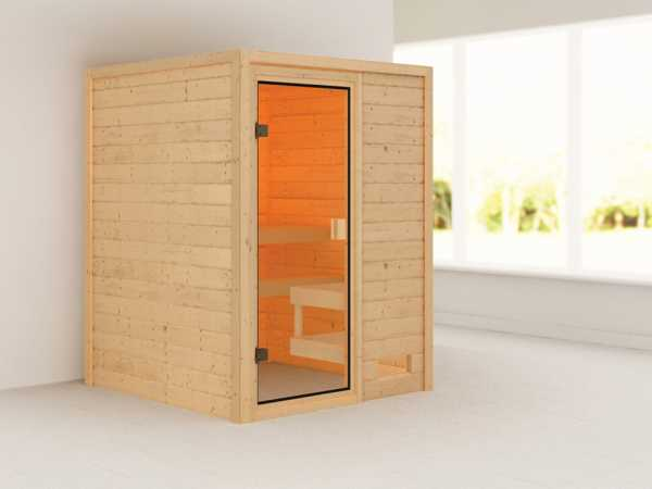 Sauna Sandra mit bronzierter Glastür