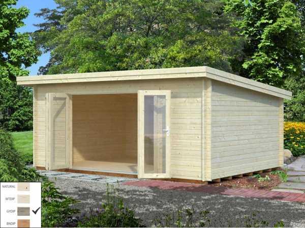 "Gartenhaus Blockbohlenhaus ""Lea"" 19,4 m² 44 mm grau tauchimprägniert"