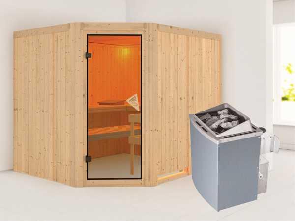Systemsauna Malin bronzierte Ganzglastür, inkl. 9 kW Saunaofen integr. Steuerung