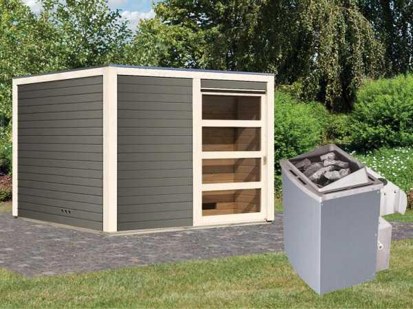 Saunahaus Cuben 38 mm terragrau inkl. 9 kW Saunaofen integr. Steuerung