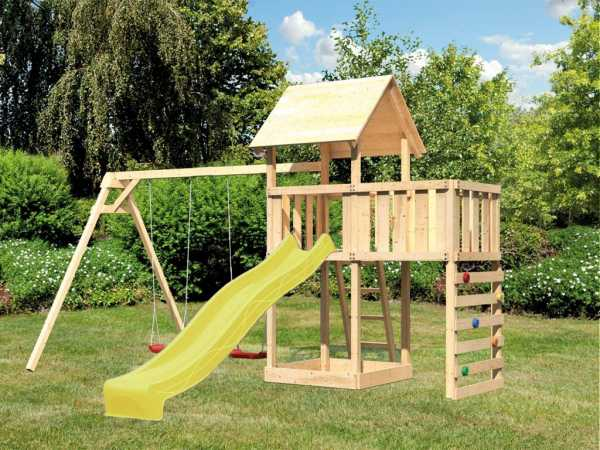 Spielturm SPARSET Lotti 2 mit Podestanbau + Doppelschaukel + Kletterwand inkl. Rutsche gelb