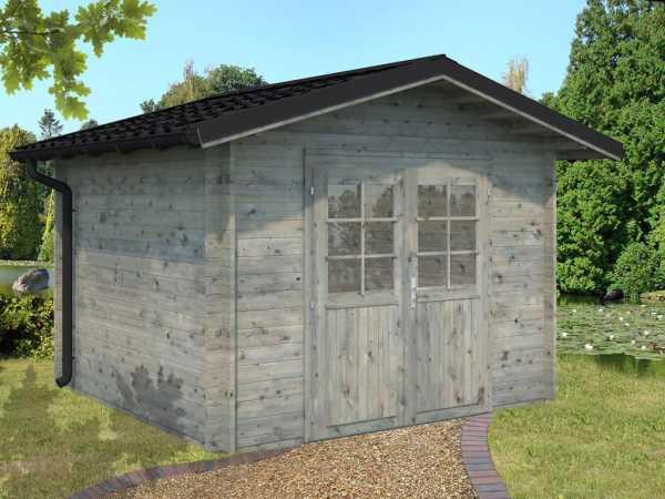 Gartenhaus Blockbohlenhaus Tina 7,5 m² 34 mm grau tauchimprägniert