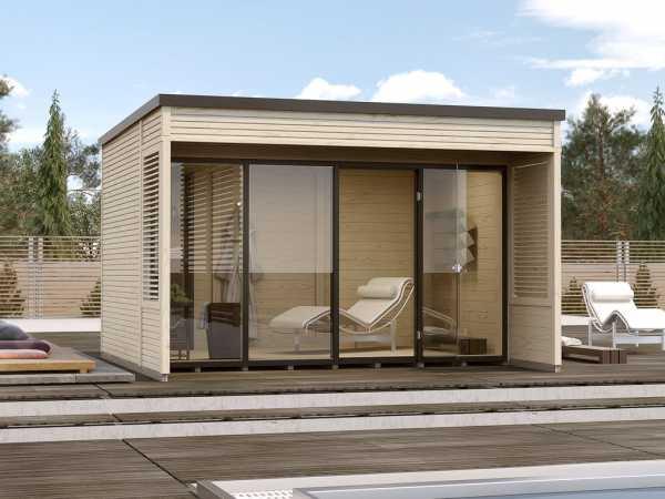 Gartenhaus Designhaus Cubilis 2.0 Gr. 1 45 mm naturbelassen, inkl. selbstklebender Dachbahn