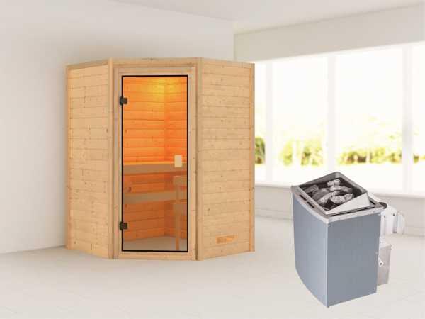 """Sauna """"Antonia"""" mit bronzierter Glastür + 9 kW Saunaofen integr. Strg."""
