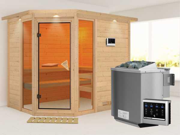 Sauna Massivholzsauna Sinai 3 mit Dachkranz, inkl. 9 kW Bio-Kombiofen ext. Steuerung