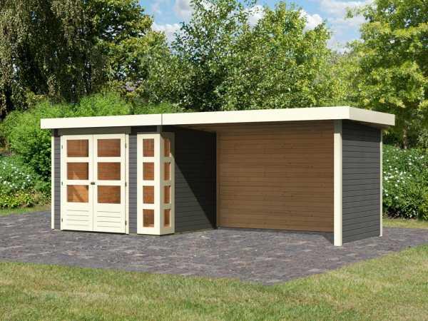 Gartenhaus SET Kerko 3 19 mm terragrau, inkl. 2,8 m Anbaudach + Seiten- und Rückwand