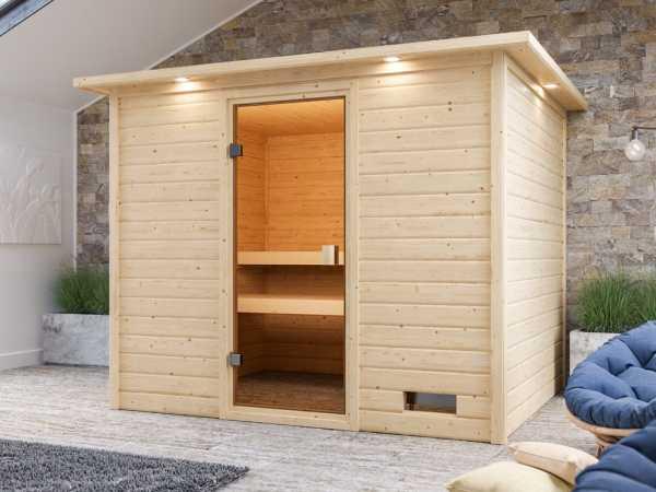 """Sauna """"Katja"""" mit bronzierter Glastür und Dachkranz"""