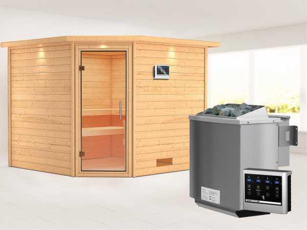 Sauna Massivholzsauna Leona mit Dachkranz, Klarglas Ganzglastür + 9 kW Bio-Kombiofen mit ext. Strg