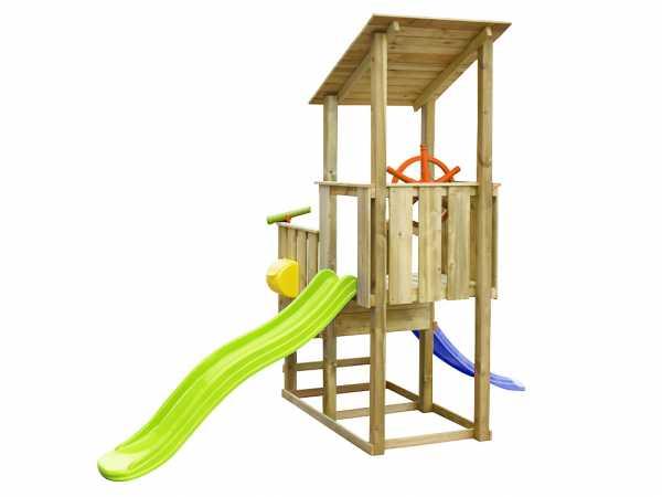 Spielturm SPARSET Playcenter Pirate KDI inkl. 2 Rutschen grün und blau + Zubehör