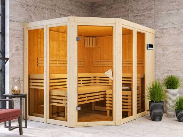 """Sauna """"Ainur"""" mit bronzierter Glastür + 9 kW Saunaofen ext. Strg."""