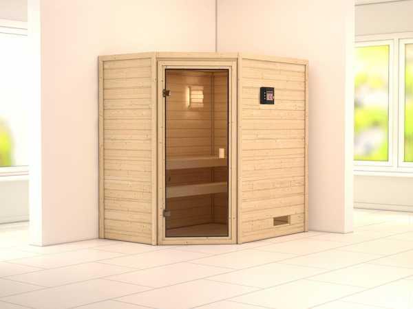 """Sauna Massivholzsauna SPARSET """"Helsinki 2"""" inkl. Plug & Play Bio-Ofen externe Steuerung"""
