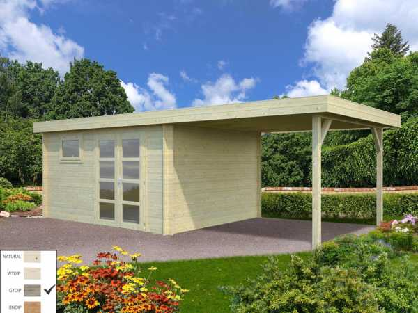 "Gartenhaus Blockbohlenhaus ""Elsa"" 11,3+8,1 m² 28 mm grau tauchimprägniert"