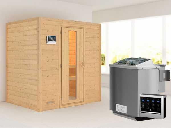 """Sauna Massivholzsauna """"Sonja"""" Energiespartür + 9 kW Bio-Kombiofen mit ext. Strg"""
