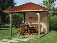 Gartenlaube Pavillon Sparset Gartenoase 651 Gr. 2, inkl. Dachschindeln rot
