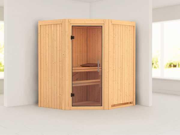 Sauna Systemsauna Taurin Klarglas Ganzglastür