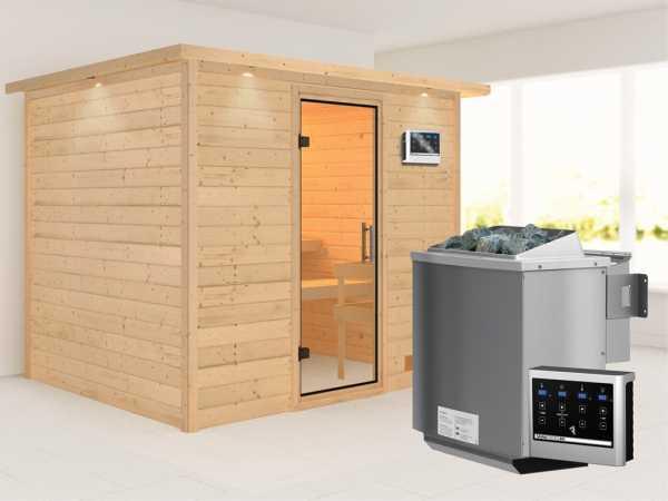Sauna Massivholzsauna Karla mit Dachkranz, Klarglas Ganzglastür + 9 kW Bio-Kombiofen mit ext. Strg