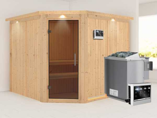 """Sauna Systemsauna """"Farin"""" mit Dachkranz, graphit Ganzglastür + 9 kW Bio-Kombiofen mit ext.Strg"""