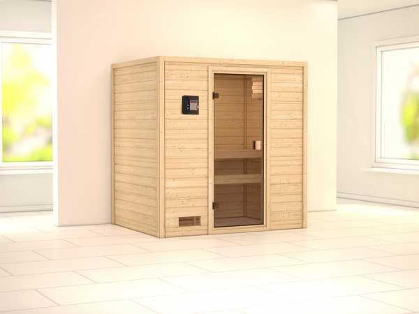 """Sauna Massivholzsauna SPARSET """"Oslo 1"""" inkl. 9 kW Saunaofen ext. Steuerung"""