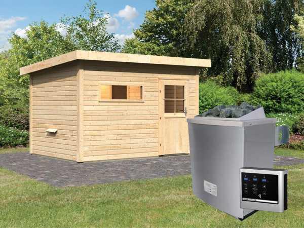 Saunahaus Suva 2 mit Holztür & Vorraum, inkl. 9 kW Saunaofen mit externer Steuerung
