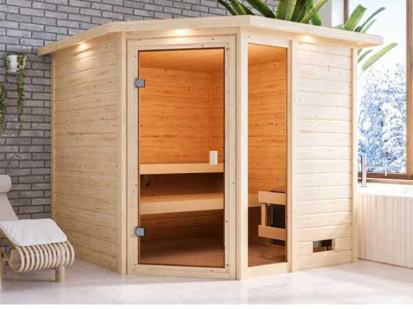 """Sauna """"Tabea"""" mit bronzierter Glastür und Dachkranz"""