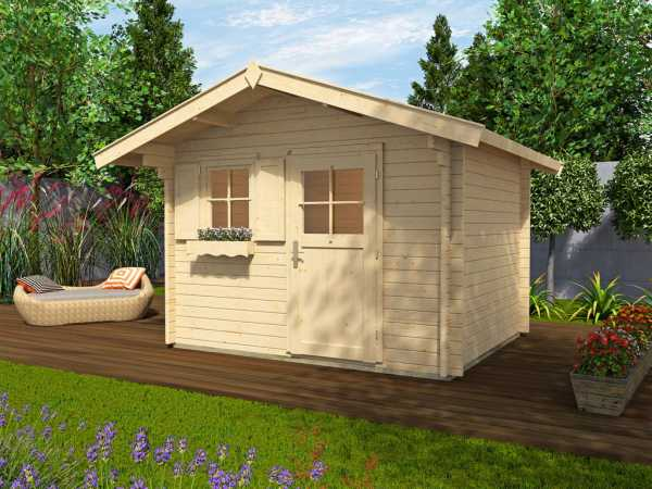 Gartenhaus Blockbohlenhaus Sparset 131 Gr. 3 45 mm naturbelassen