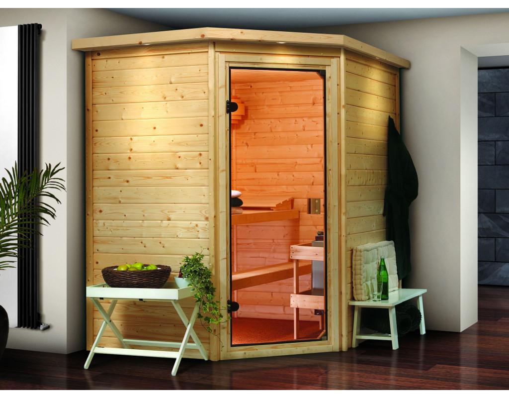 sauna massivholzsauna sparset plus mia mit dachkranz inkl bio kombiofen 9 kw wo0200. Black Bedroom Furniture Sets. Home Design Ideas