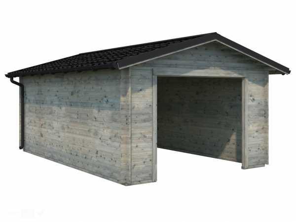 Garage Tomas 19,2 m² ohne Tor 34 mm grau tauchimprägniert