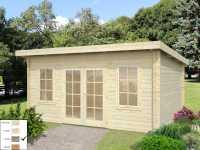 Gartenhaus Blockbohlenhaus Lisa 14,2 m² 44 mm grau tauchimprägniert