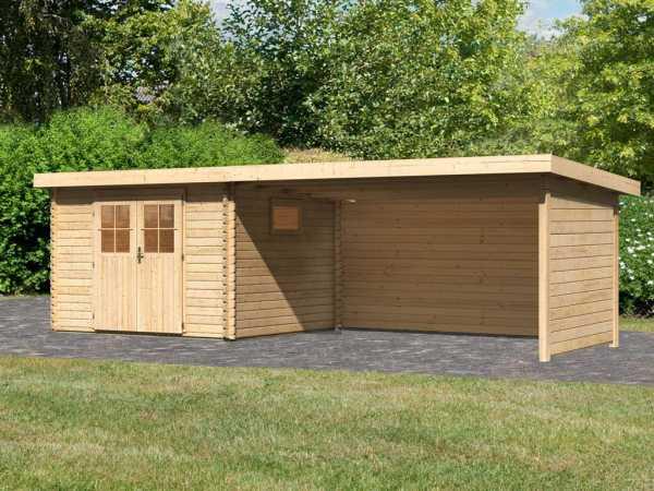 Gartenhaus BBH SET Torgau 3 40 mm naturbelassen, inkl. 4,2 m Anbaudach + Seiten- und Rückwand