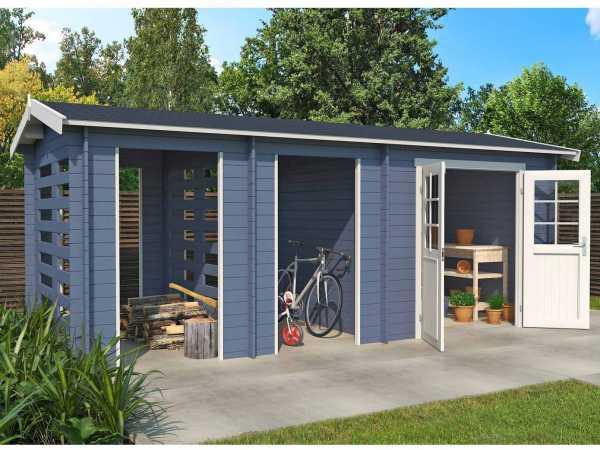 Gartenhaus Blockbohlenhaus Hokkaido 2 28 mm taubenblau