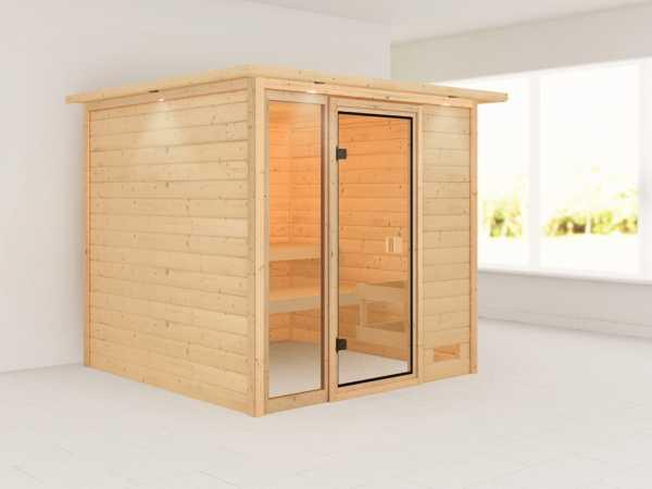 Sauna Jutta mit bronzierter Glastür und Dachkranz